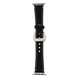 Curea Tactical Leather pentru Apple IWatch 1/2/3/4/5/6/SE 42/44mm Negru