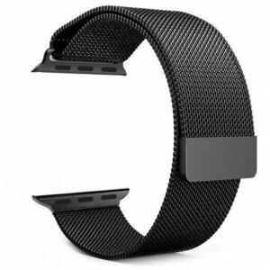 Curea Tactical Loop Magnetic Stainless Steel pentru Apple IWatch 1/2/3/4/5/6/SE 38/40mm Negru