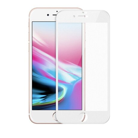 Folie sticla iPhone 7/8 Plus, Alb Contakt