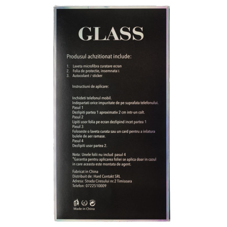 Folie sticla iPhone X/XS/11 Pro, Contakt Neagra
