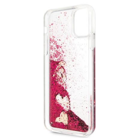 Husa Cover Guess Glitter Hearts pentru iPhone 11 Pro Max Raspberry
