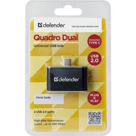 Hub Usb Defender Quadro Dual 2xUsb TypeC- Micro Usb 0.5A Negru