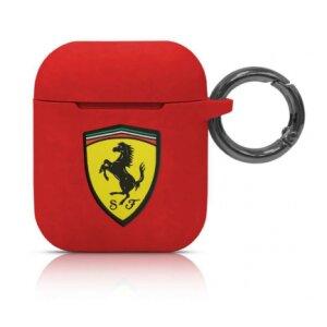 Husa Airpods Ferrari Silicone FESACCSILSHRE pentru Airpods 1/2 Red