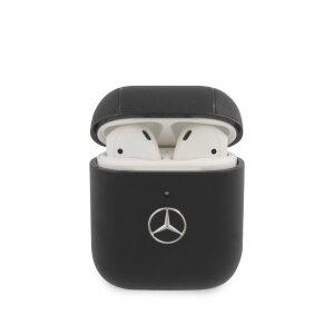 Husa Airpods Mercedes Leather pentru Airpods 1/2 Blak