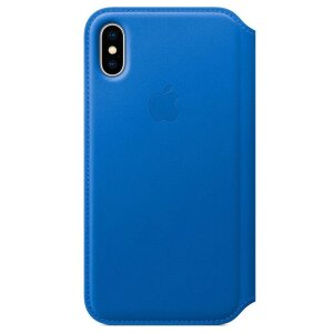 Husa Book Apple Folio Leather pentru iPhone X Blue