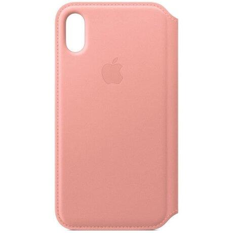Husa Book Apple Folio Leather pentru iPhone X Pink