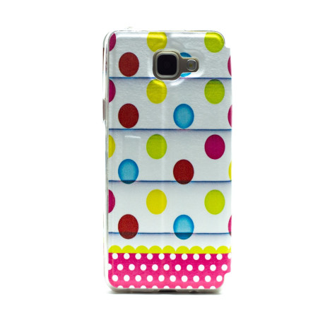 Husa book fashion S-View Samsung Galaxy A5 2016, Contakt Dots