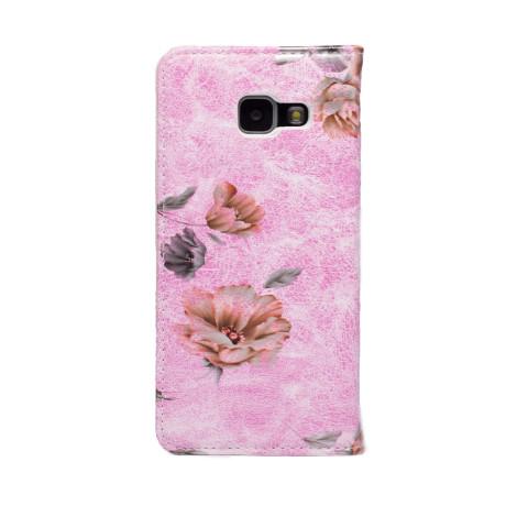 Husa Book Fashion Samsung Galaxy A3 2016,Roz model flori