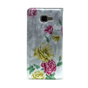 Husa Book Fashion Samsung Galaxy A5 2016, Argintie model floral