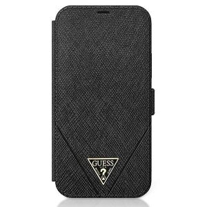 Husa Book Guess Saffiano V Stitch pentru iPhone 12 Pro Max Black