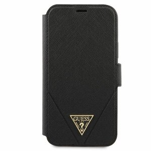 Husa Book Guess Saffiano V Stitch pentru iPhone 12/12 Pro Black