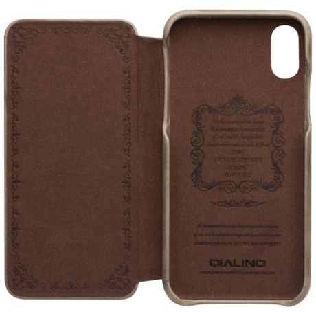 Husa Book iPhone X/Xs Qialino Khaki