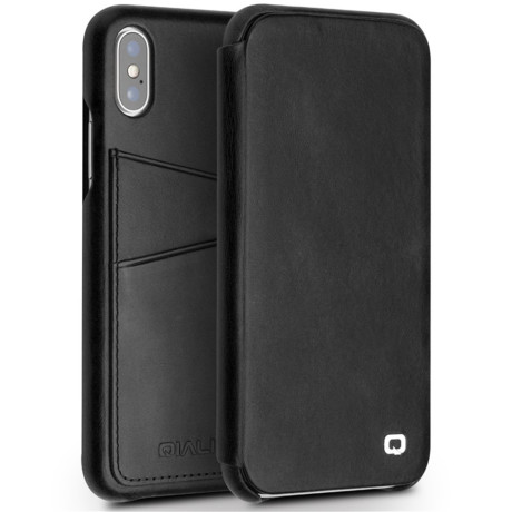 Husa Book iPhone X/Xs 5.8'' Qialino Neagra