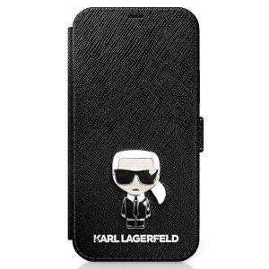Husa Book Karl Lagerfeld Saffiano Iconic pentru iPhone 12 Mini Black