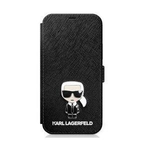 Husa Book Karl Lagerfeld Saffiano Iconic pentru iPhone 12 Pro Max Black