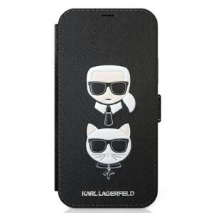 Husa Book Karl Lagerfeld Saffiano K&C Heads pentru iPhone 12 Pro Max Black