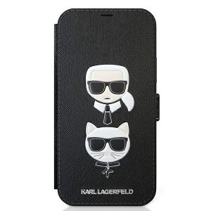 Husa Book Karl Lagerfeld Saffiano K&C Heads pentru iPhone 12/12 Pro Black