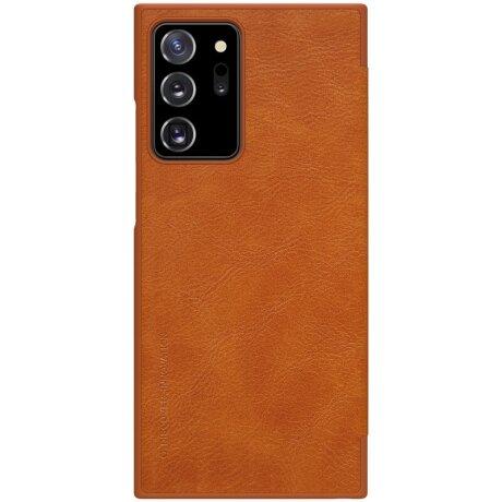 Husa Book Nillkin Qin Piele Ecologica pentru Samsung Galaxy Note 20 Ultra Maro