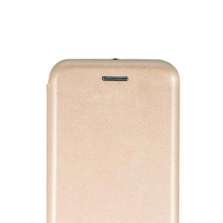 Husa book satinat Huawei Y7 Prime 2018, Contakt Auriu