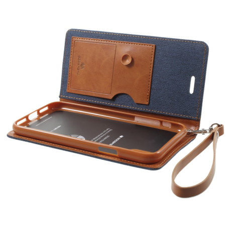 Husa Canvas iPhone X/Xs Stand Wallet Goospery Albastra