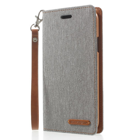 Husa Canvas iPhone X/Xs 5.8'' Stand Wallet Goospery Gri