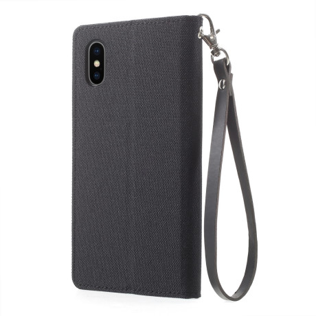 Husa Canvas iPhone X/Xs Stand Wallet Goospery Neagra