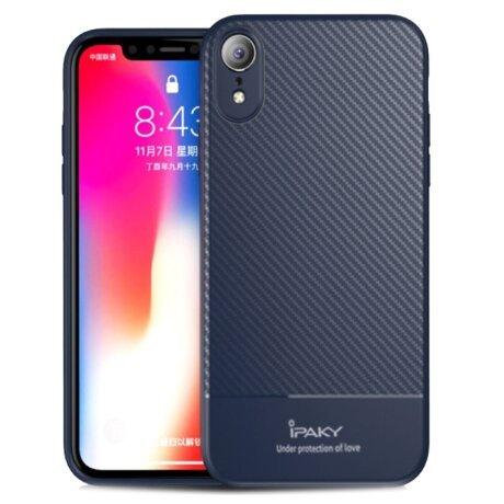 Husa Carbon Fiber iPhone XR, Ipaky Albastra