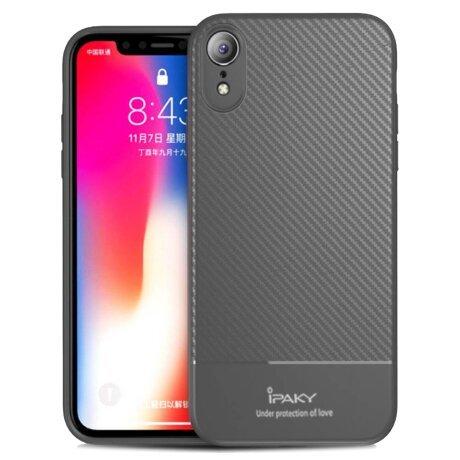 Husa Carbon Fiber iPhone XR, Ipaky Gri