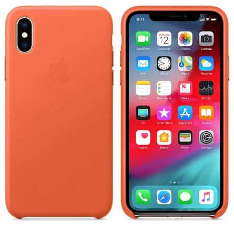 Husa Cover Apple Leather pentru iPhone X/XS Orange