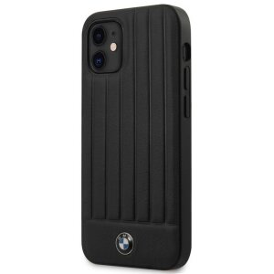 Husa Cover BMW Leather Hot Stamp Vertical pentru iPhone 12 Mini Black
