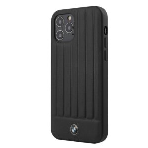 Husa Cover BMW Leather Hot Stamp Vertical pentru iPhone 12/12 Pro Black