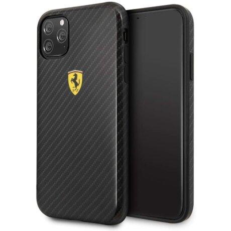 Husa Cover Ferrari On Track Carbon Effect pentru iPhone 11 Pro FESPCHCN58CBBK Negru