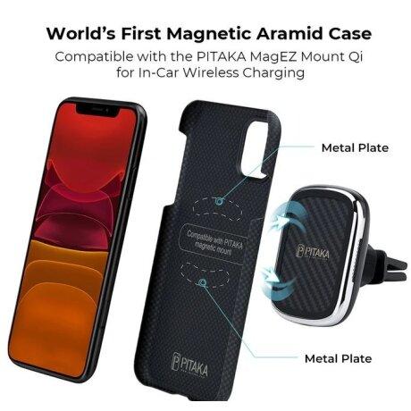 Husa Cover Fibra Pitaka MagEZ Plain Magnet pentru iPhone 11 Pro KI1101 Negru