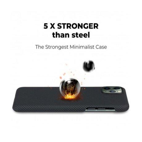 Husa Cover Fibra Pitaka MagEZ Plain Magnet pentru iPhone 11 Pro Max Negru