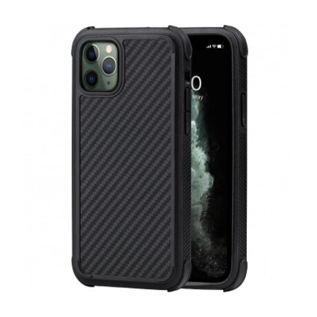 Husa Cover Fibra Pitaka MagEZ Pro Twill Magnet pentru iPhone 11 Pro Negru Gri