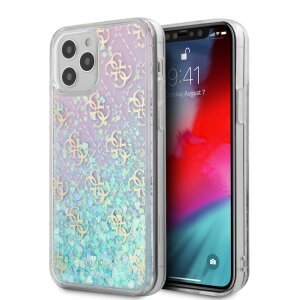 Husa Cover Guess 4G Liquid Glitter Iridescent pentru iPhone 12 Pro Max Clear