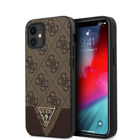 Husa Cover Guess 4G Triangle pentru iPhone 12 Mini Brown