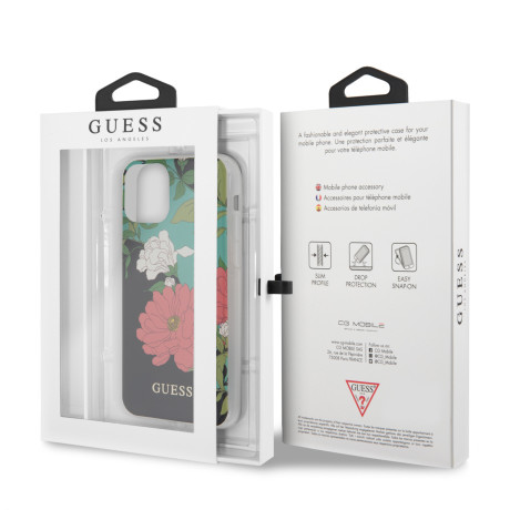 Husa Cover Guess Flower pentru iPhone 11 Pro Max Negru