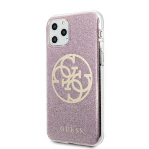Husa Cover Guess Glitter Circle pentru iPhone 11 Pro Max Roz Auriu