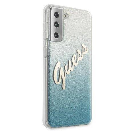 GUHCS21SPCUGLSBL Guess PC/TPU Vintage Zadni Kryt pro Samsung Galaxy S21 Gradient Light Blue