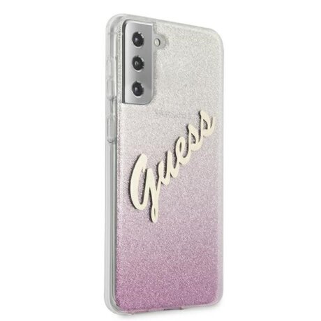 Husa Cover Guess Glitter Gradient pentru Samsung Galaxy S21 Pink