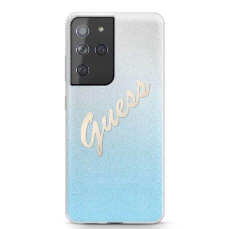 Husa Cover Guess Glitter Gradient pentru Samsung Galaxy S21 Ultra Light Blue