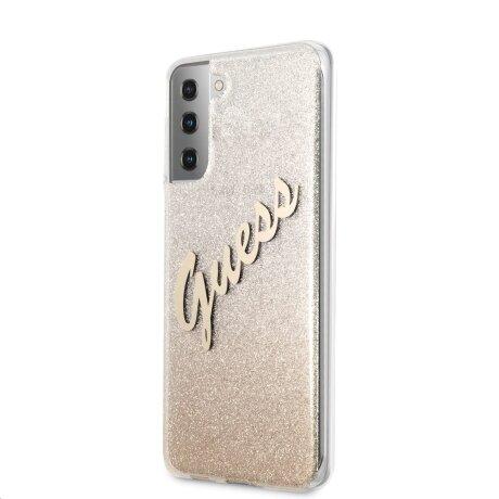Husa Cover Guess Glitter Gradient pentru Samsung Galaxy S21 Ultra Gold
