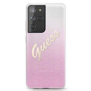 Husa Cover Guess Glitter Gradient pentru Samsung Galaxy S21 Ultra Pink
