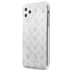 Husa Cover Guess Glitter Peony pentru iPhone 11 Pro Max Argintiu
