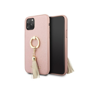 Husa Cover Guess Saffiano Ring Stand pentru iPhone 11 Pro Pink