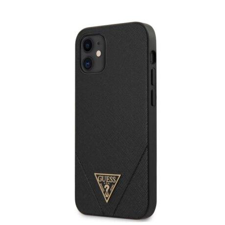 GUHCP12SVSATMLBK Guess Saffiano V Stitch Zadni Kryt pro iPhone 12 mini 5.4 Black