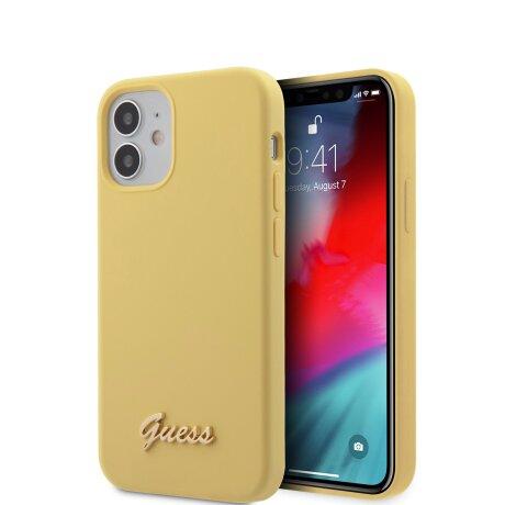 Husa Cover Guess Silicone Metal Logo pentru iPhone 12 Mini Yellow