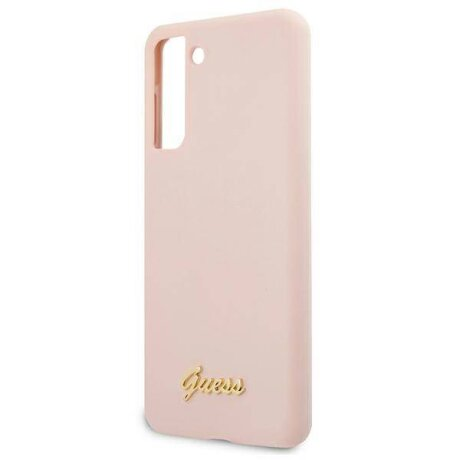 Husa Cover Guess Silicone Metal Logo pentru Samsung Galaxy S21 Pink