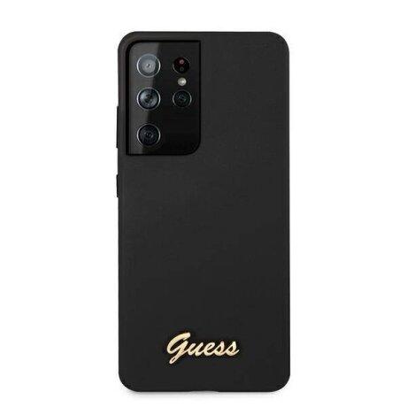Husa Cover Guess Silicone Metal Logo pentru Samsung Galaxy S21 Ultra Black